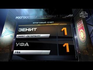 Обзор матча: Футбол. РФПЛ.18-й тур. Зенит - Уфа 1:1