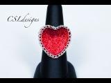 Heart shaped wire wrapped cabochon ring  Valentine's Day. Кольцо с оплетённым кабошоном в форме сердца. Видеоурок.