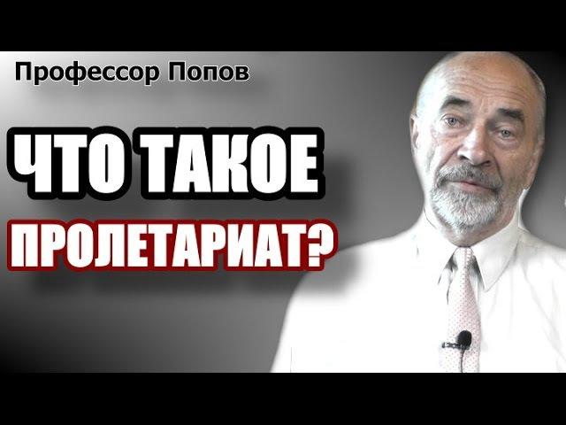 Пролетариат: применение понятия. Профессор Попов
