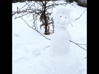 Лепим снеговиков с сыном!