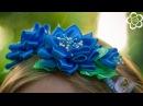 Греческая повязка с цветами и бутоном Канзаши / Видео мастер класс / DIY Kanzashi