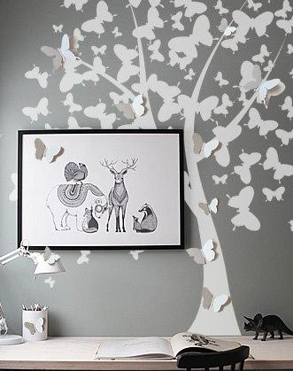 наклейка дерево на стену фото, дерево из бабочек фото, 3d бабочки на стену фото