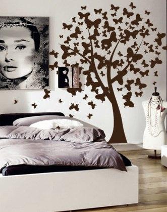 наклейка дерево на стену фото, дерево из бабочек фото, дерево на стене фото