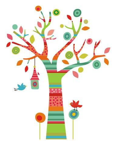 наклейки на стену фото, дерево на стене фото, дерево в полоску фото, наклейка на стену дерево фото, разноцветное дерево фото