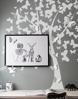 обьемные бабочки фото, декор бабочки фото, дерево на стене фото, 3d бабочки фото, наклейка на стену дерево фото