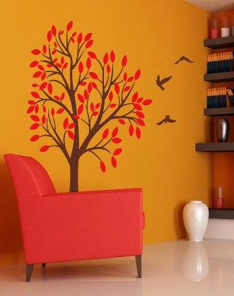 дерево на стене фото, наклейка с птицами фото, дерево с птицами фото, наклейка на стену дерево фото