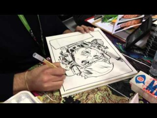 Nathan Fox draws Donald Trump as Modok at New York Comic Con