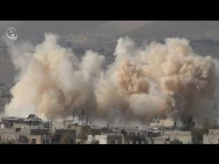 Сирия.Ми-25 ВВС САР наносит бомбовый удар по позициям боевиков в Дарайе..№2.