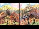 Быстрое Рисование Диптих Осенний Пейзаж АкварельГуашь