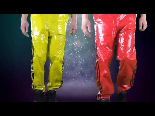 Shiny Nylon/Plastic Bruno Wet Look Wind Adidas Like Pants - Red, Yellow, and White