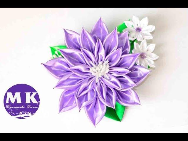 Мастер класс Канзаши Цветок канзаши из атласных лент kanzashi
