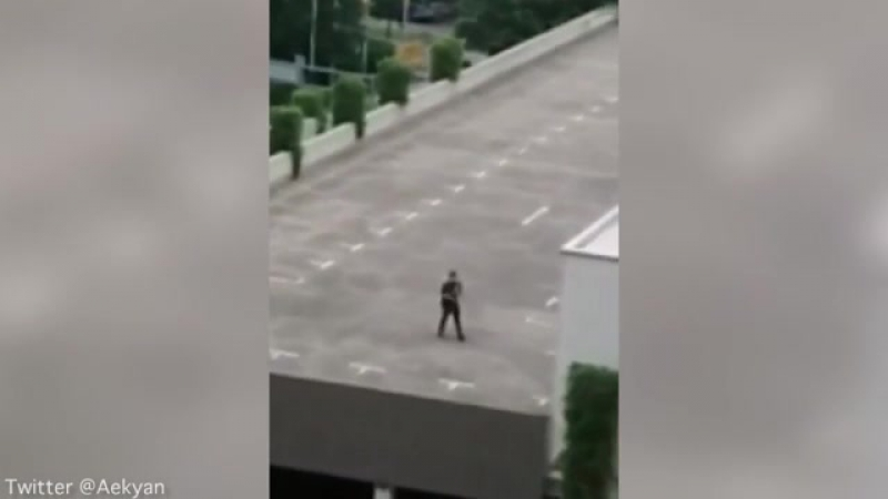Atirador caminha no telhado do shopping e atira