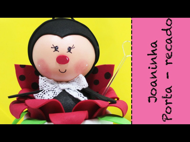 Artesanato EVA - Como fazer Lembrancinha Joaninha com Pote de Cotonete