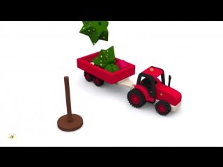 Мультики про машинки. Развивающий мультик про трактор и ёлочку. Новогодние мультфильмы для детей