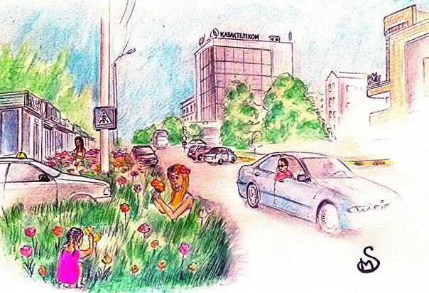 цветочная поляна напротив Park city