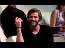 Liam Hemsworth Jennifer Lawrence and Josh Hutcherson impersonating Woody Harrelson
