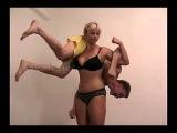 Strong girl wrestles & dominates small weak man