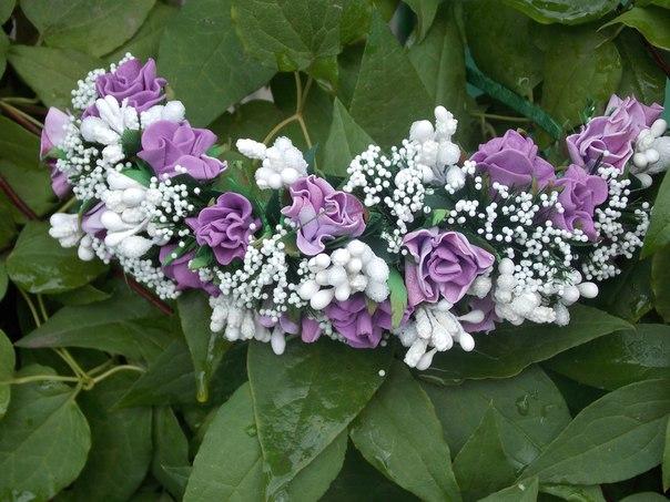 Ободок. Розы ручной работы, каждый лепесток сделан и окрашен вручную…. (3 фото) - картинка