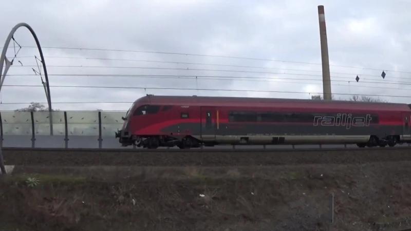 Vlaky Railjet OBB a CD na trati Praha hlavni nadrazi - Brno hlavni nadrazi