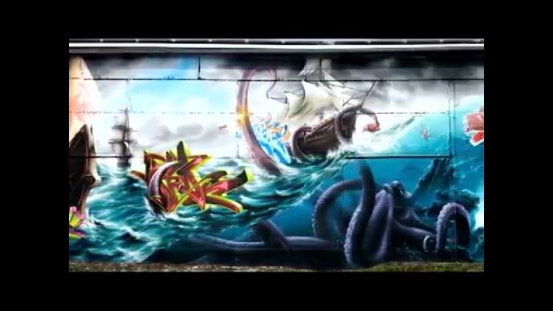 Граффити на весь дом700 метров стены за 4 месяца)