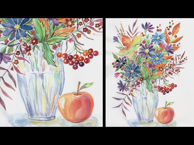 Speed Painting | Autumn Bouquet 3 | Watercolor | IOTN