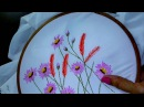 Hand embroidery designs. Lazy daisy stitch, Long lazy daisy, feather stitch.