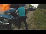 Мужик сгорел заживо в машине! Ужасная авария!