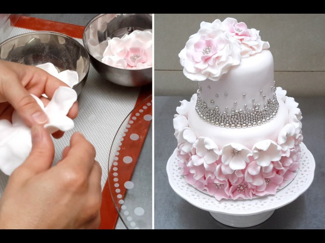 Cake with Pearls Flowers *Decorar con Fondant by Cakes StepbyStep