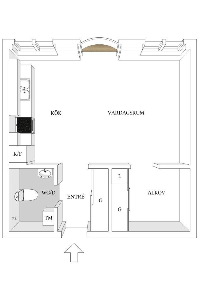 Интерьер квартиры-студии 41 м.