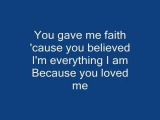 Celine Dion-Because you loved me (with lyrics)
