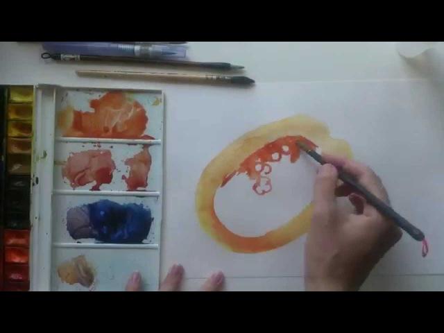 Рисуем скетч акварелью Папайя
