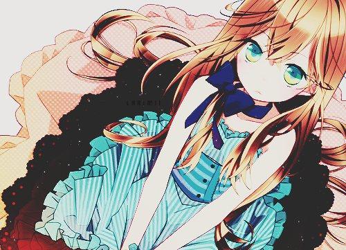 Девушки аниме с русыми волосами и зелёными глазами