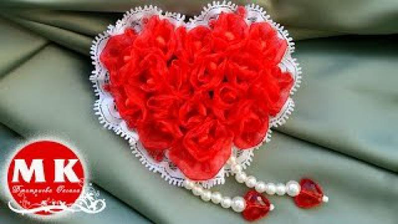 Мастер класс Канзаши Заколка для волос Сердце ко Дню святого Валентина for Va