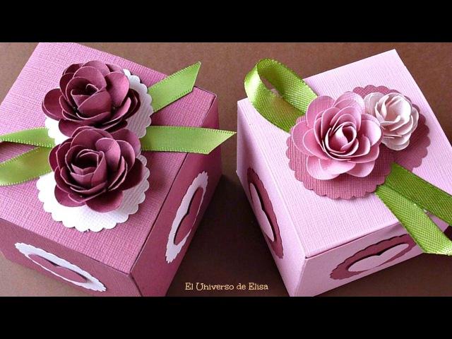Cómo hacer Cajas de Regalo, Caja de Regalo con Rosas de Papel