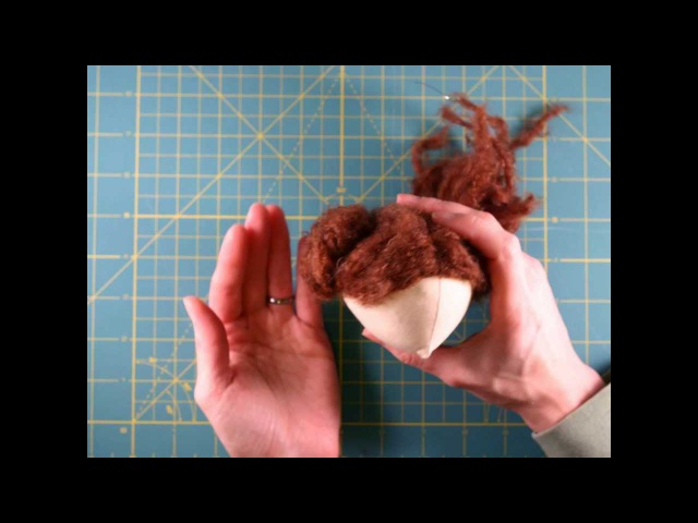 CLOTH DOLL MAKING: How to make easy doll's hair. Ballerina Hairstyle