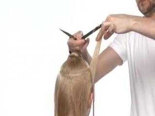 Каскад с челкой на длинные волосы