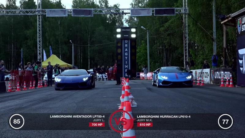 Lamborghini Aventador (stock) vs Lamborghini Huracan (stock) | Unlim 500,заезд,drag racing,тачка,машина,автомобиль,суперкар