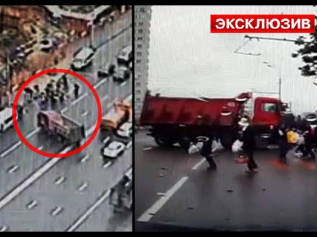 В Москве десять человек чудом выжили под колесами бешеного КамАЗа Первый по срочным новостям LIFE NEWS