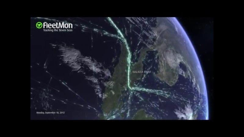 Global ship traffic seen from space - FleetMon Satellite AIS and FleetMon Explorer