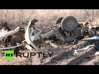 2016.02.10 - На КПП в Донбассе пассажирский автобус подорвался на мине