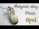 DIY faux opal Polymer clay tutorial Wire wrapping tutorial