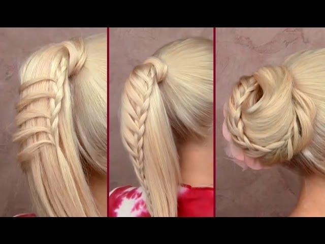Прически с плетением на хвосте коса лесенка и пучок на длинные волосы своими руками