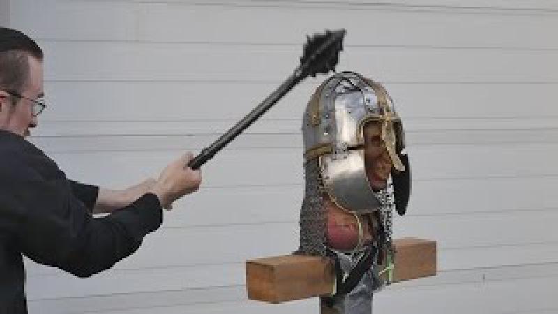Helmet tests, part 4 - Unexpected weapon failure! (vs. Anglo-saxon helmet)