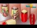 Короткий МАНИКЮР с РИСУНКОМ. Цветы на ногтях ТЮЛЬПАНЫ Рисунки на ногтях видео урок пошагово.
