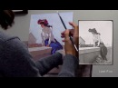 Painting with oil colours from a black and white photo - demonstration by Lena Rivo