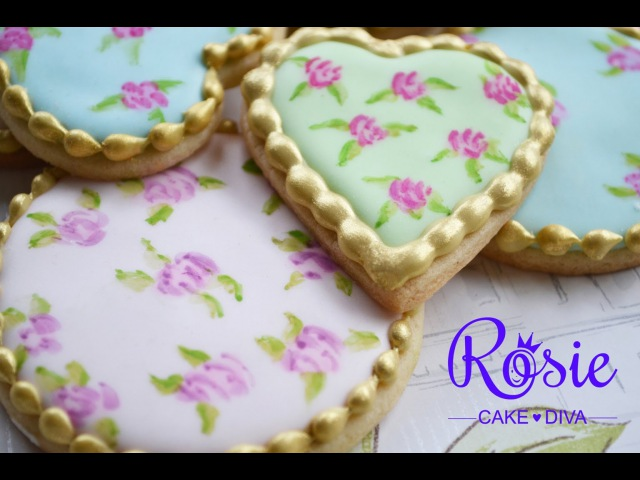 Cath Kidston Style Roses - Edible Painting On Cakes Cookies Tutorial