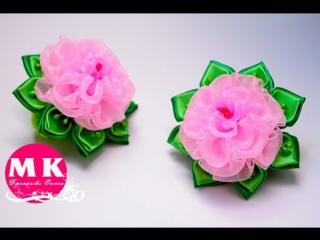 Мастер-класс Канзаши.Цветы из органзы.Резинки для волос.Розы Канзаши/Hair bands. Rose Kanzashi