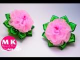 Мастер-класс Канзаши.Цветы из органзы.Резинки для волос.Розы КанзашиHair bands. Rose Kan...
