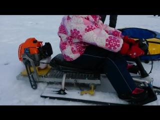 Детский снегоход своими руками - бензиновый самодельный мини-снегоход из снегоката