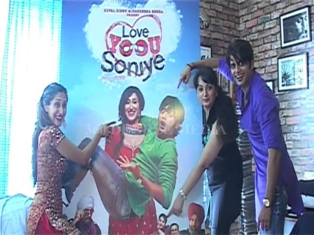 Karan Bohra,Teejay Sidhu Upasana singh is Posses with poster of upcoming Movie Love Yoou Soniye